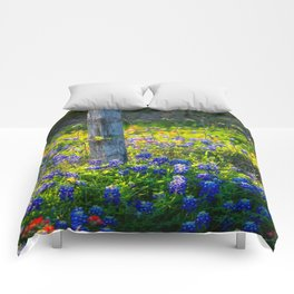 Country Living - Fence Post and Vines Among Bluebonnets and Indian Paintbrush Wildflowers Comforters