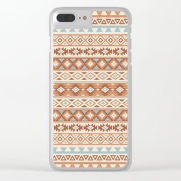 Aztec Stylized Pattern Blue Cream Terracottas Clear iPhone Case