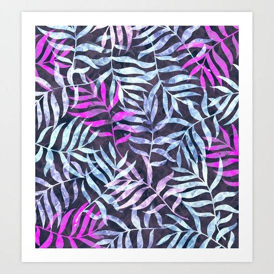 Watercolor Tropical Palm Leaves X Art Print