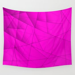 Tinted contrasting violet fragments of crystals on irregularly shaped triangles. Wall Tapestry