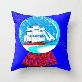 A Nautical Snow Globe with a Clipper Ship Throw Pillow