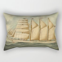 Vintage Illustration of a Large Sailing Yacht (1919) Rectangular Pillow