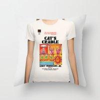 vonnegut Throw Pillows featuring Vonnegut - Cat's Cradle by Neon Wildlife