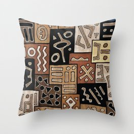 Brown and Black Abstract Mud Cloth Print Throw Pillow