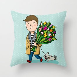 boy with flowers Throw Pillow