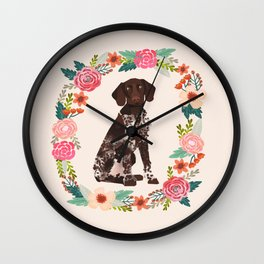 german shorthair pointer floral wreath spring dog breed pet portrait gifts Wall Clock