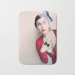 """""""Who Me?"""" - The Playful Pinup - Red and Black Pin-up Girl by Maxwell H. Johnson Bath Mat"""