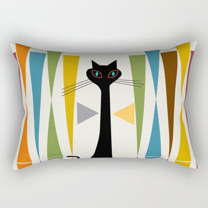 Mid-Century Modern Art Cat 2 Rechteckiges Kissen