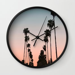 California Sunset // Palm Tree Silhouette Street View Orange and Blue Color Sky Beach Photography Wall Clock