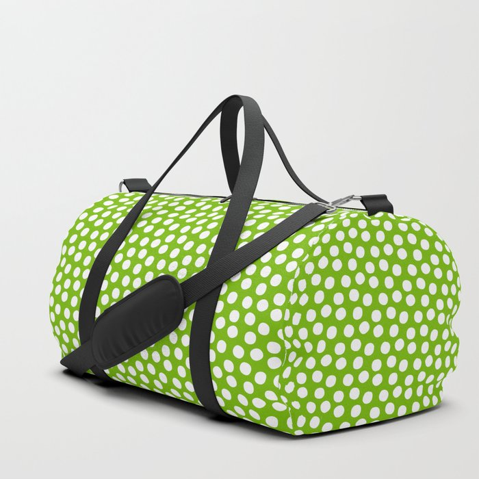 White Polka Dots on Fresh Spring Green - Mix & Match with Simplicty of life Duffle Bag