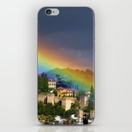 Rainbow over Dar alHorra Palace at Granada. Spain iPhone Skin
