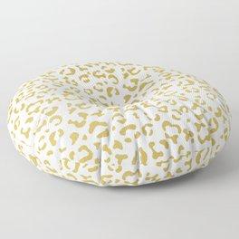 Animal Print, Leopard Spots, Glitter - Gold White Floor Pillow