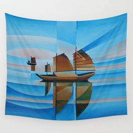 Soft Skies, Cerulean Seas and Cubist Junks Wall Tapestry