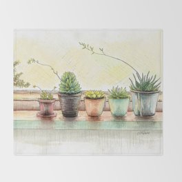 Succulents on a Window Sill Throw Blanket