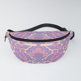 Purple Vines Folk Art Flower Pattern Fanny Pack