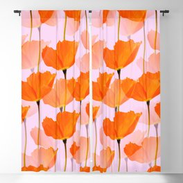 Orange Poppies On A Pink Background #decor #society6 #buyart Blackout Curtain