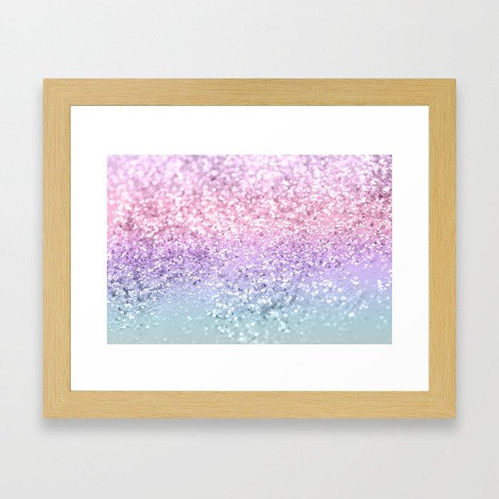 Unicorn Girls Glitter #1 #shiny #pastel #decor #art #society6 Framed Art Print