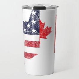 American Canadian Canada United States USA Flag USEH Gift Travel Mug