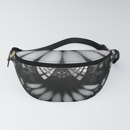 Shikoba Fractal -- Glittering Black and White Feathers in the Night Fanny Pack