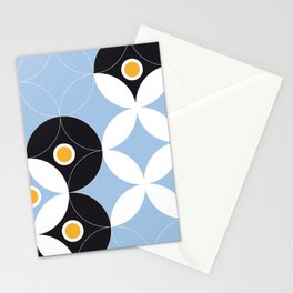 Blue White Black Greek Modern Mosaic Stationery Cards