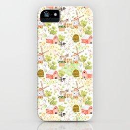 Farm Animal Friends on White iPhone Case