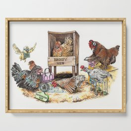 """""""Life in the Coop"""" funny chicken watercolor Serving Tray"""