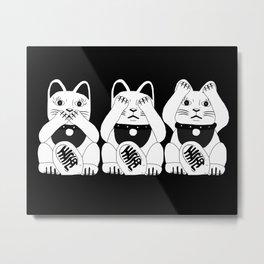 Three Smart Cats Metal Print