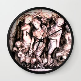 grape harvest ancient Greek sculpture Wall Clock