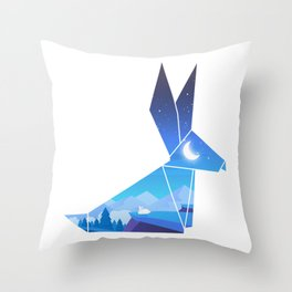 Origami Bunny (Nap on the cliff) Throw Pillow