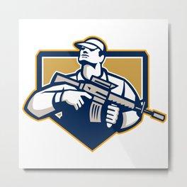 Soldier Military Serviceman Assault Rifle Retro Metal Print