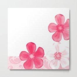 Retro 70s Flowers Pink Metal Print
