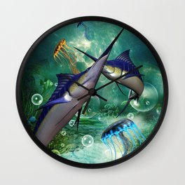 Awesome marlin with jellyfish Wall Clock