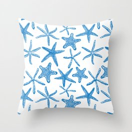 Sea stars in blue Throw Pillow
