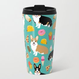 Welsh Corgi junk food fast food tacos french fries pizza burrito ice cream donuts Travel Mug