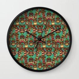 Tiki Head Pattern Wall Clock