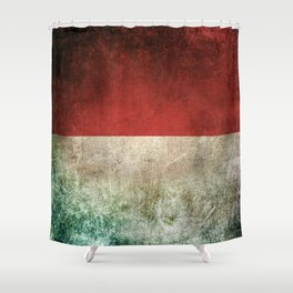 Old and Worn Distressed Vintage Flag of Indonesia Shower Curtain