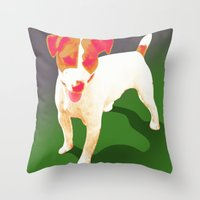 jack russell Throw Pillows featuring Jack Russell by justlikeandy.co.uk Andy Warhol-style