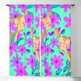Cute wild sweet little baby deer fawns lost in the forest of blooming pink flowers illustration. Blackout Curtain