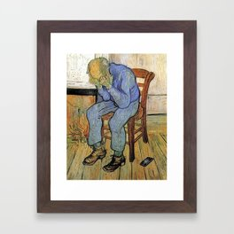 Old man in sorrow Framed Art Print