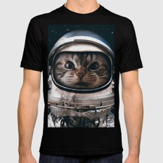 Space catet Black Mens Fitted Tee LARGE