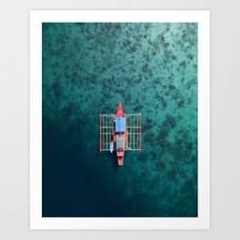 Boat from above in the Philippines. Art Print