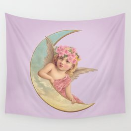 Victorian Moon Angel Wall Tapestry