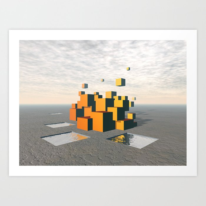 Surreal Floating Cubes Art Print