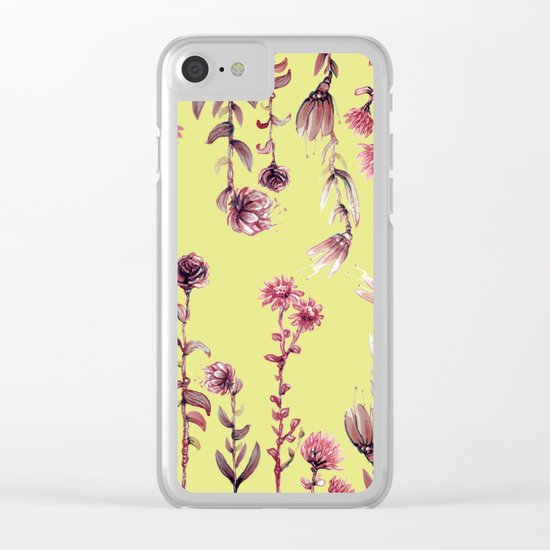 pink water color Garden Clear iPhone Case