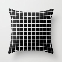 Back to School - Simple Grid Pattern - Black & White - Mix & Match with Simplicity of Life Throw Pillow