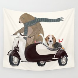 the bear mobile Wall Tapestry