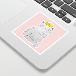 Cute cat with crown pink background Sticker