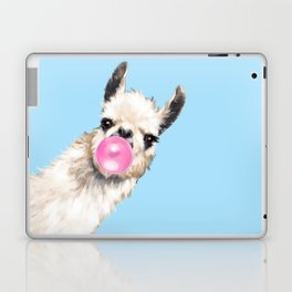 Bubble Gum Sneaky Llama in Blue Laptop & iPad Skin