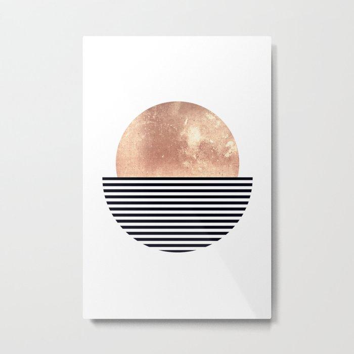 Rose Gold Sun - Scandinavian Art Metal Print