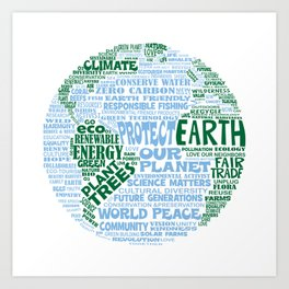 Protect Earth Word Bubble Art Print